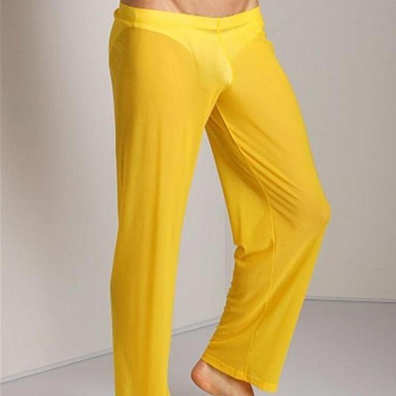 Helisopus See Through Pants Men's Sexy Transparent Trousers Male Loose Mesh Sheer Gauze Bottoms Sleepwear Underpants