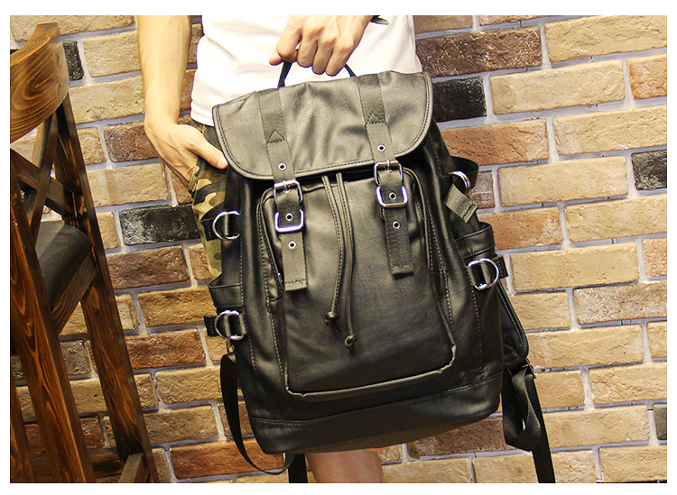 051018 new hot man fashion leather travel backpack student school bag 12