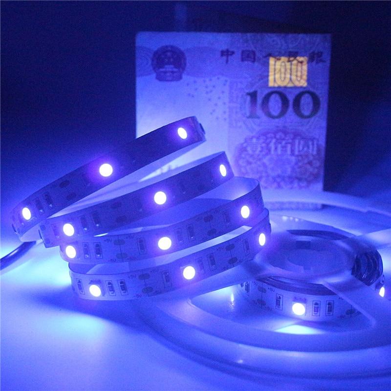 Image 5 - 0.5 2m 5050 SMD Chip UV Led Strip Light 30leds/m Not waterproof Ultraviolet 395 410nm DC 5V USB Led rope Tape Lamp Cabinet Lamp-in LED Strips from Lights & Lighting