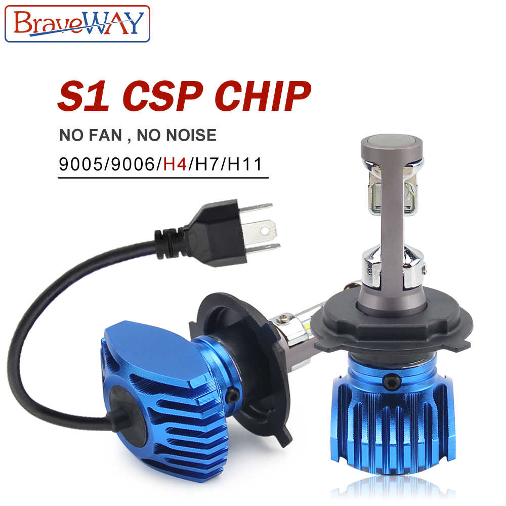 BraveWay H4 LED H7 Headlight H11 H8 Auto Lamp 9005 HB3 9006 HB4 12V 80W 12000LM 6500K CSP Chip LED Fog Lights for Car Motorcycle