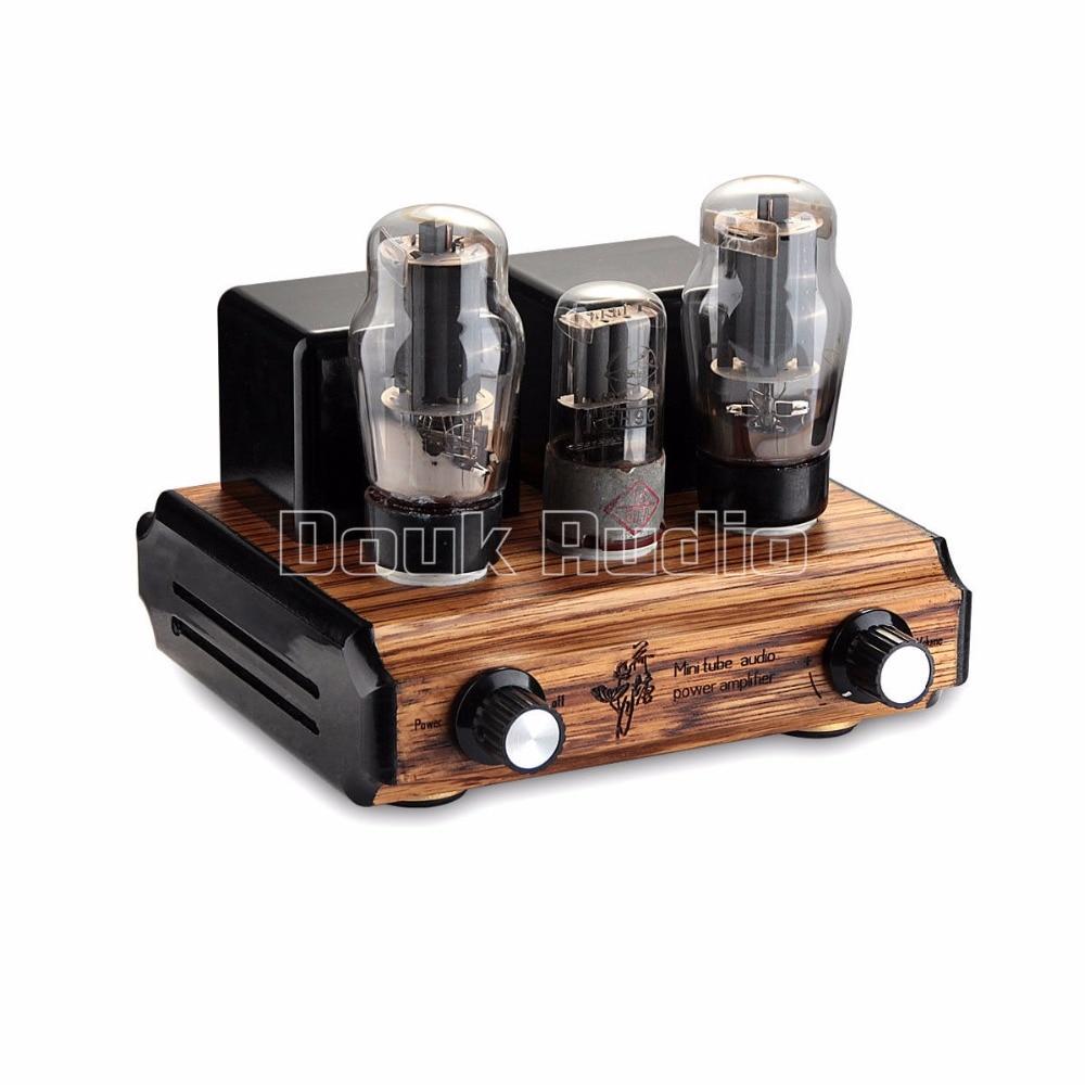 Douk Audio Pure handmade Mini 6P3P Vacuum Tube Amplifier 2.0 Channel Stereo HiFi Class A Power Amp 5W*2 appj pa1501a 6ad10 mini tube amplifier hifi desktop home audio 3 5w 3 5w gd parts valve tube amp 1pc