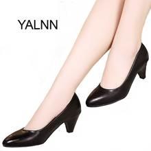 Yalnn Черная женская обувь Туфли-лодочки на среднем каблуке телесного цвета пикантные свадебные туфли на высоком каблуке офисные женские белые туфли-лодочки для девочек