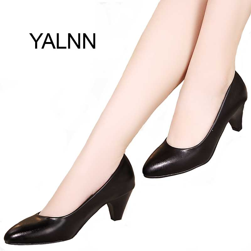YALNN Black Women Shoes Pumps Ladies Medium Heel Nude Sexy High Heels Weeding Shoes Women Office White Pumps for Girls(China (Mainland))