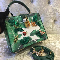 Goddess!!Extreme Luxury Exquisite Inlaid Gemstone Beaded Print Painted Women 100% Genuine Cowhide Leather Messenger Shoulder Bag