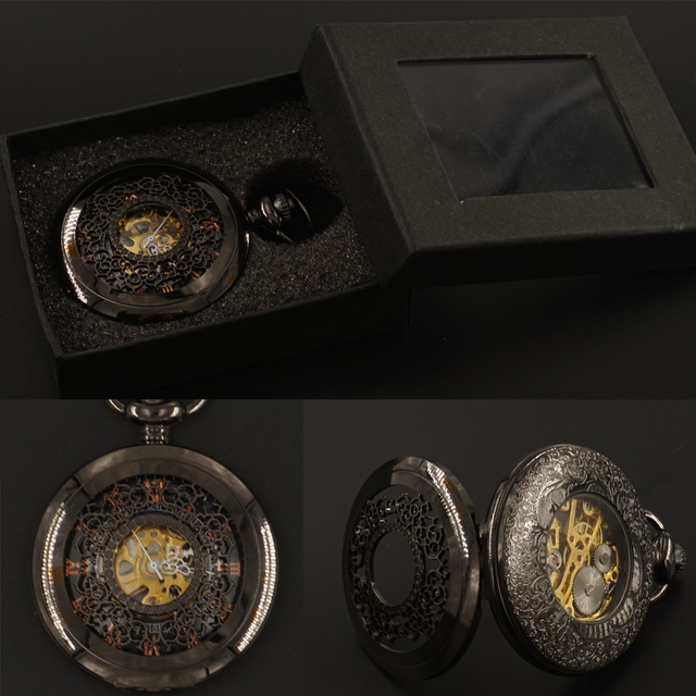 Black Flowers Women Mensa Mechanical Pocket Watches FOB Chain Gift Box Hand Wind Hollow Steampunk 2017 Free Shipping