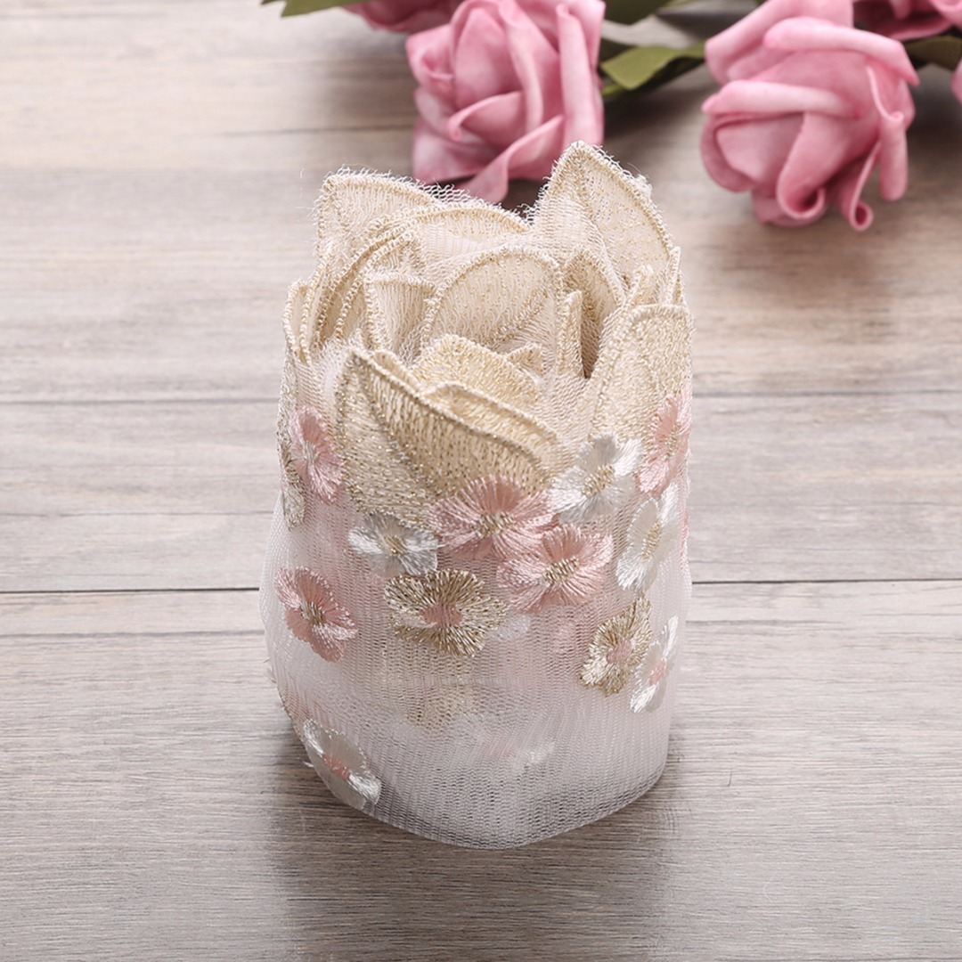 Floral Tulle Lace Trim Ribbon Fabric Flower Embroidery Wedding DIY Trim Sewing