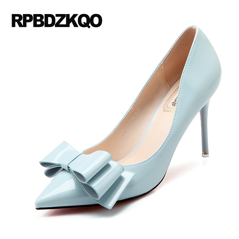 Cute 4 34 Small Size 2017 Light Blue Women Shoes Thin Pointed Toe Green Pumps High Heels Bow Patent Leather Autumn Bow Tie Slip