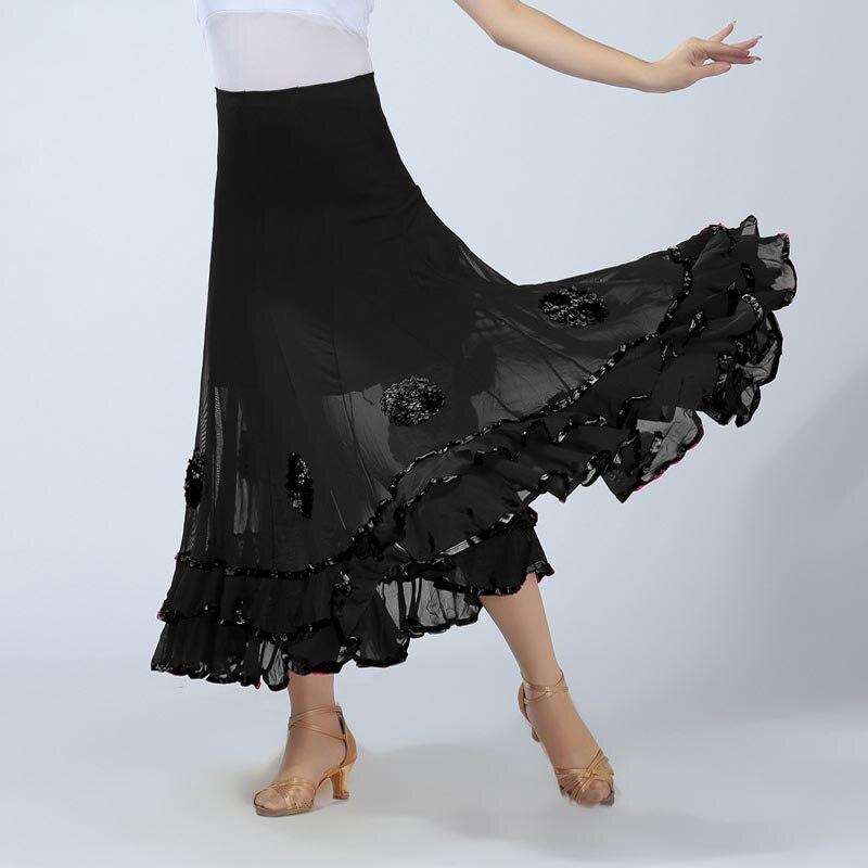 Women Belly Dance Waltz Flamenco Ballroom Dress Competition Outfits Spain Dancer Skirts Long Swing Dance Skirt Holographic (1)