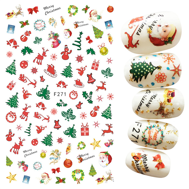 Christmas 3D Nail Art Sticker Nail Tips Decal Back Glue Adhesive Stickers Xmas Tree Gifts Santa Claus Manicure Sticker Tips