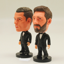 "Soccer Player Star 2PCS/LOT MESSI & C.RONALDO (Full Dress) 2.5"" Action Dolls Figurine FreeShipping"