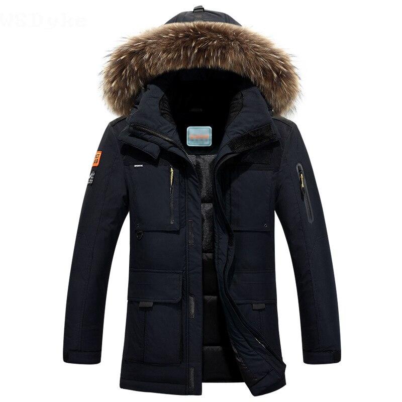 2018 новый длинный выдерживает-40 градусов зимняя куртка мужская большой натуральный меховой воротник с капюшоном утиный пух куртка большой р...