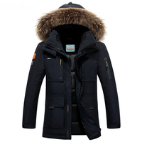 2018 New Long Can Withstand 40 Degrees Winter Jacket Men Big Real Fur Collar Hooded Duck Down Jacket Big Size 4XL