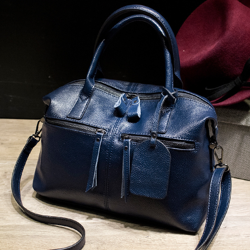 New Arrival Stylish Women Split Leather Bag Handbags Famous Brand Fashion Boston Lady Leather Tote Bags for Female Ladies