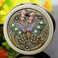 free shipping mini portable collapsible rounded double-faced purple butterfly makeup mirror