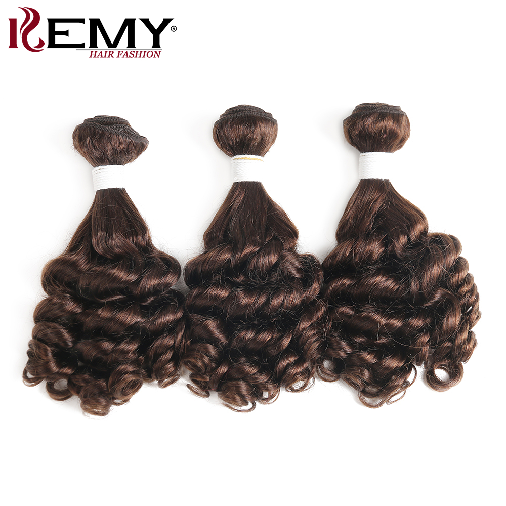 Medium Brown Funmi Curly Human Hair Bundles Brazilian Non-Remy Human Hair Extensions 1/3/4 Pieces Hair Weave Bundles KEMY HAIR