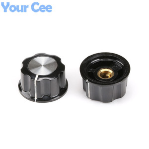 Image 1 - 50pcs Skirted Knob A03 For Standard Ports Black Diameter 27mm Height 16mm Hole Diameter 6mm For Potentiometer
