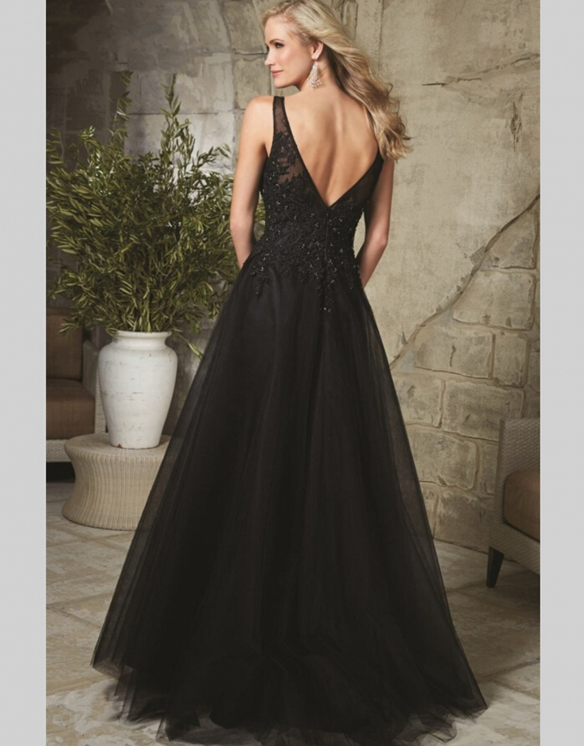 95c2de2efd Vestido Social Long Black Evening Dresses Beaded Lace Elegant Evening Gowns  2016 V Back Tulle Robe de Soiree Courte Women-in Evening Dresses from  Weddings ...
