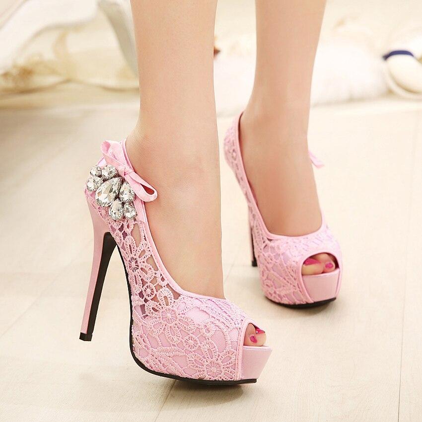 Pretty crystarl rhinestone mujeres Bombas Zapatos sexy Encaje malla peep  toe Tacones altos Zapatos mujer Vestidos de fiesta Zapatos size41 en Bombas  de las ... 1f93217a6295