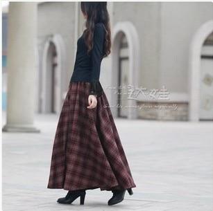 Aliexpress.com : Buy 2017 New Autumn Winter Women Plaid Long Skirt ...