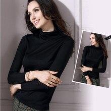 Чистый шелк Базовая рубашка Тяжелый шелк тутового шелкопряда Водолазка с длинным рукавом женский базовый свитер топы L/XL/XXL/XXXL