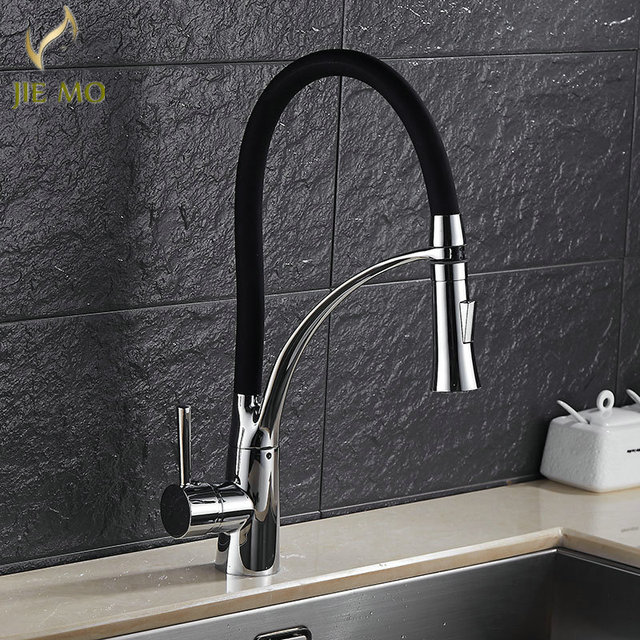 Black Pull Down Kitchen Faucet New Arrival Solid Brass Swivel Pull