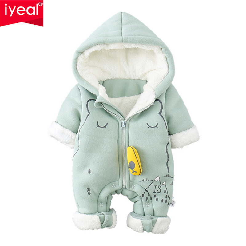 IYEAL Newborn Baby Jumpsuit Outfit Hooded Soft and Warm Fleece Lined Coat Winter Infant   Rompers   Cute Cartoon Toddler Clothing