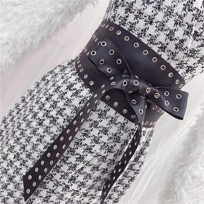 Tweed Vestito Lusso Pieno Inverno V Disegno Scollo Delle Dz296 Donne Di A Femminili Eleganti Impiombato Autunno Manicotto Miscela Multi Pista Abiti Lana Sexy TpxqFOZw