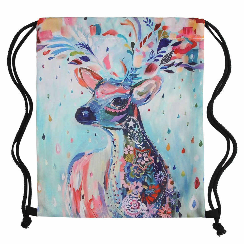 Drawstring Backpack Colorful Deer Rucksack