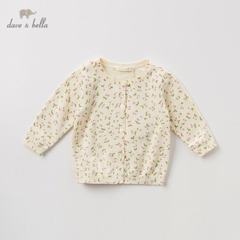 DB11781 dave bella autumn infant baby girls fashion fruit print cardigan kids toddler coat children cute knitted sweater image