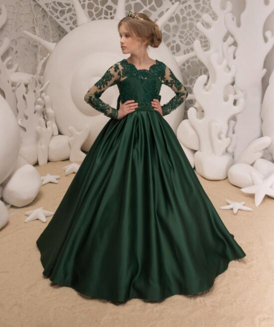 Emerald green lace appliques long sleeves junior kids performing dresses A-line girl princess birthday party formal event gowns Emerald green lace appliques long sleeves junior kids performing dresses A-line girl princess birthday party formal event gowns