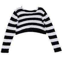 MUQGEW Women Fashion Stripe Long Sleeve Knitted  high quality material soft Sweater Crop BreathablePullovers Feminino Vestido
