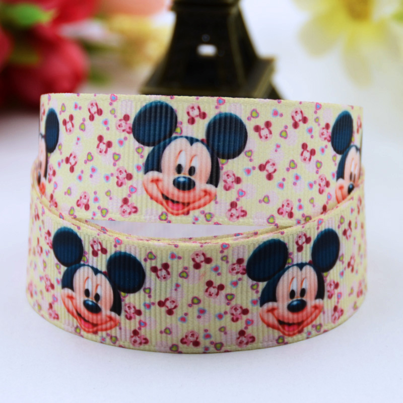 Faithful 7/8 Mickey Cartoon Character Printed Grosgrain Ribbon Party Decoration Satin Ribbons Oem 10 Yards X-00627 Easy And Simple To Handle 22mm