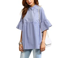 LASPERAL Blouse Shirt Women Striped Spring Summer Tops Loose Casual Black And Blue Ruffle Sleeve Babydoll