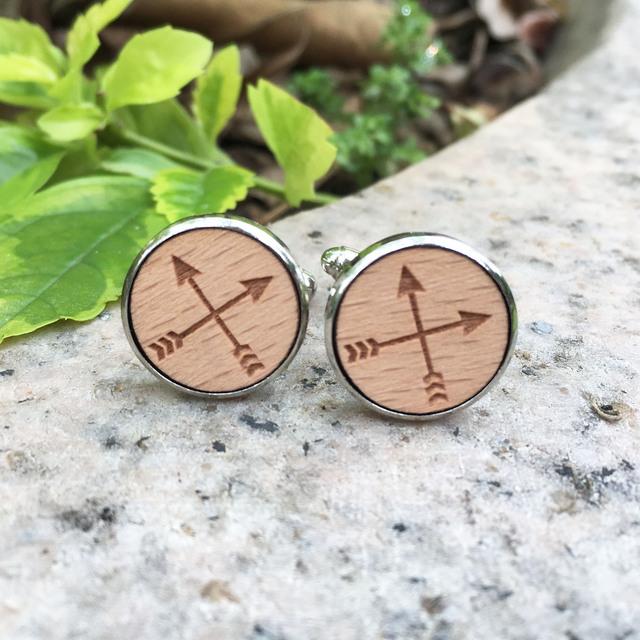 Round Cufflinks Laser Engraved Cross Wooden Jewelry War Style Stud Cufflink X 1 Pair