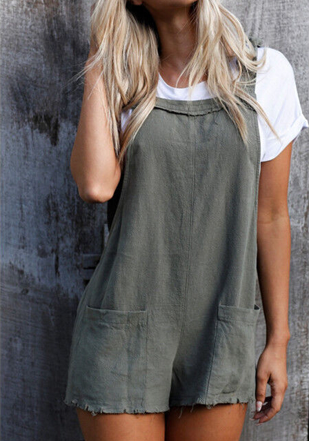 68fdb140fe6 Summer Women Casual Loose Overalls Jumpsuit Strap Backless Rompers Dungaree  Oversized Plaid Trousers -in Rompers from Women s Clothing   Accessories on  ...