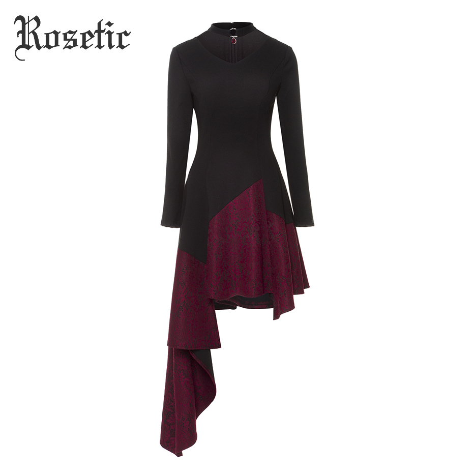 Rosetic Gothic Asymmetrical Casual Dress Lace Vintage Black Women Autumn Patchwork Fashion Retro Party Sexy Goth Victorian Dress