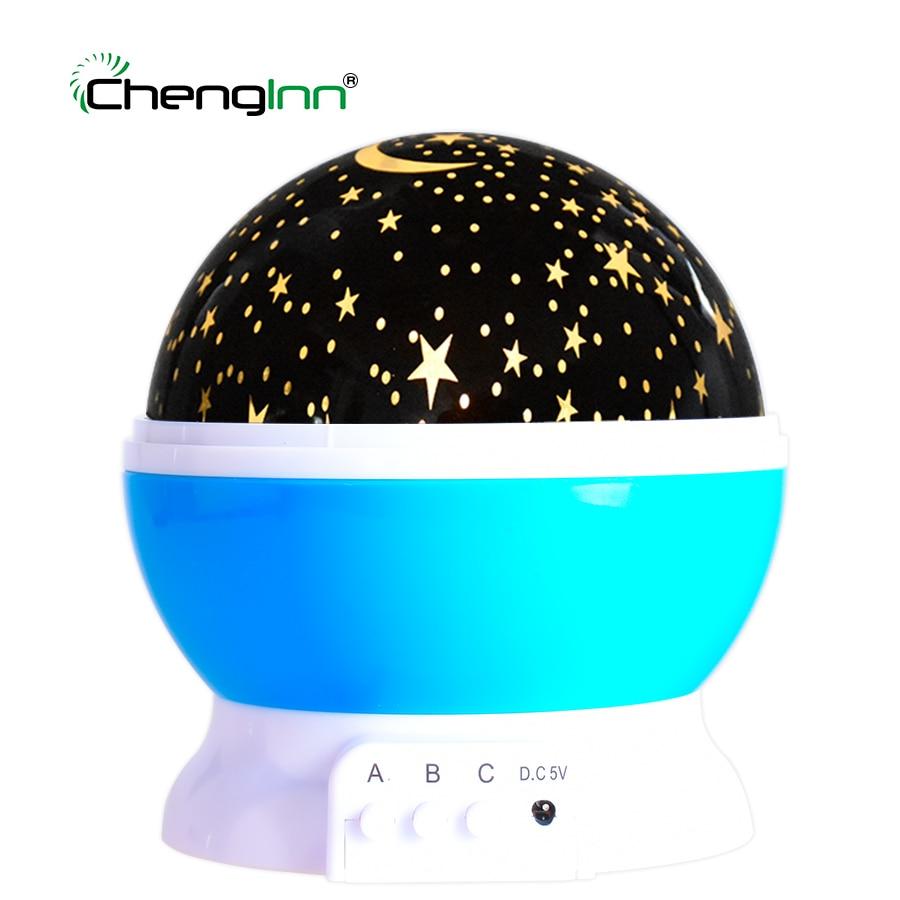 LED Night Light Lamp Rotation Star Moon Sky Projector AAA Battery Novelty Lighting USB Night Light for Children Baby Kid Bedroom