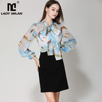 Women's Runway Shirts Bow Collar Long Sleeves Printed Fashion Blouse Elegant Casual Shirts