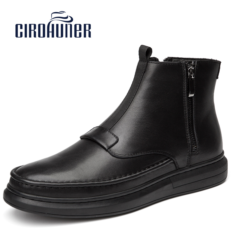 2017 New Fashion Genuine Leather Fur Warm Snow Boots Ankle Sneakers High Top Winter Casual Shoes Zipper Boots Chelsea Boots Men 2018 fashion men ankle boots casual men genuine leather zipper snow boots winter shoes men martin boots black warm boots cc 34