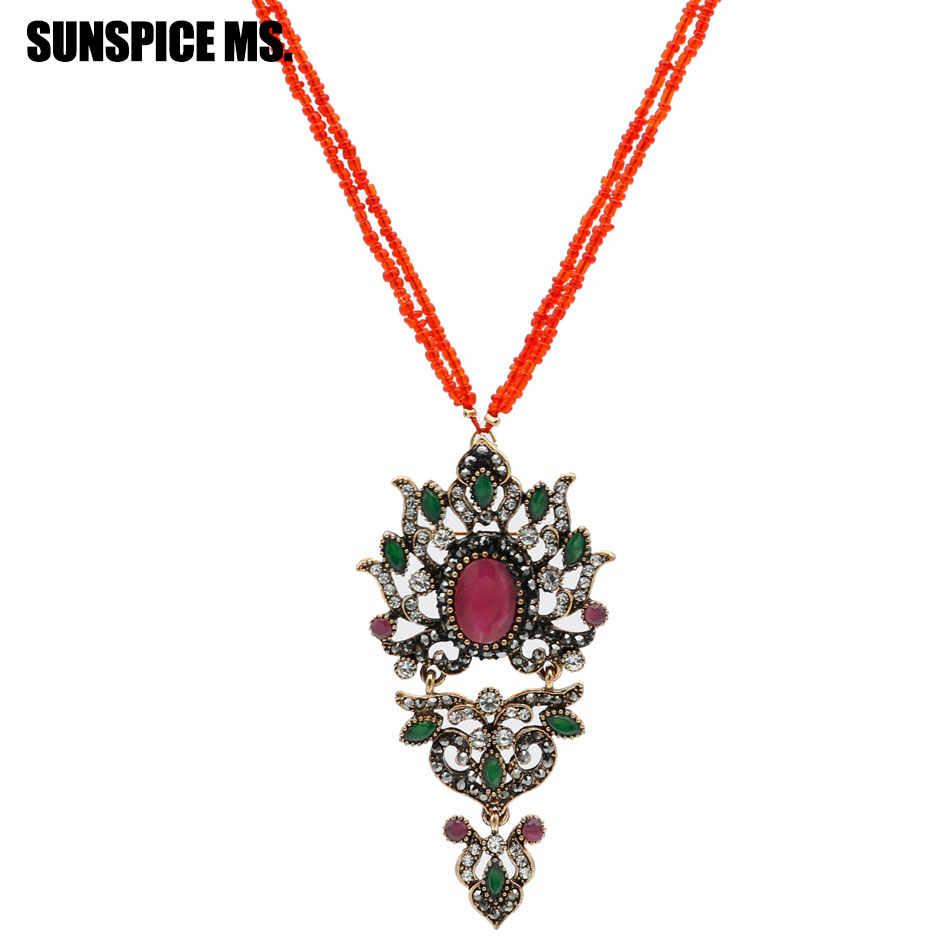 Модные турецкие семена бисера длинное ожерелье с подвеской Античного золотого цвета камедь национальное ожерелье цепи индийские антикварные свадебные украшения