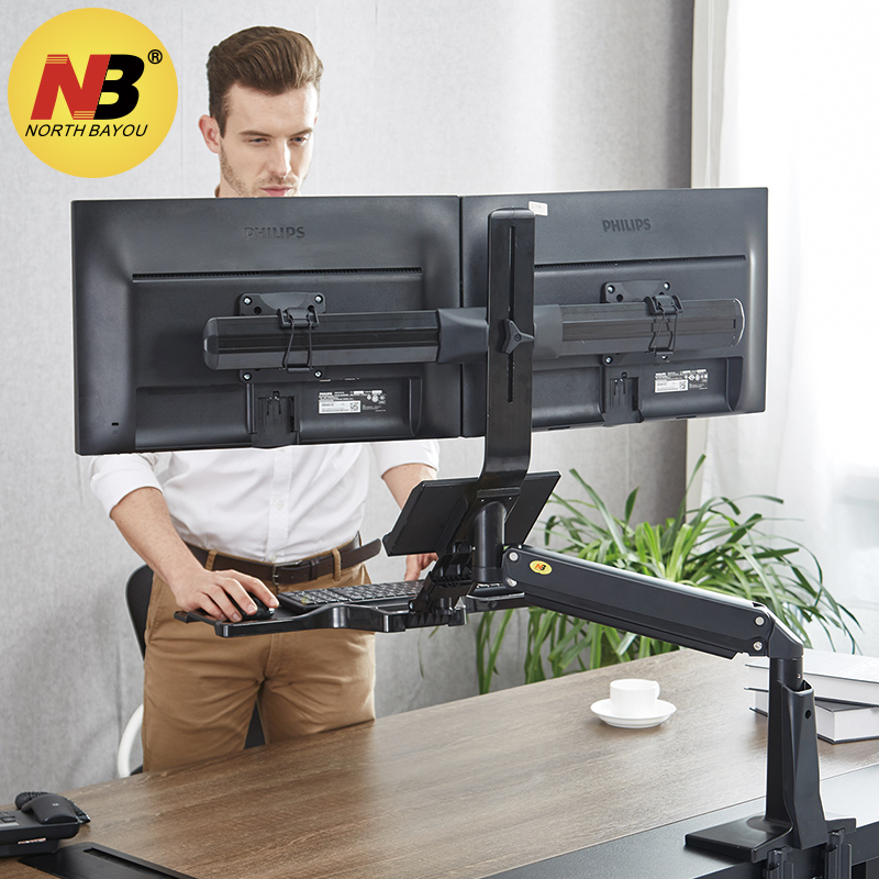 NB FC24-2A Gas Spring 19-24 inch Dual Screen Desktop Monitor Mount Full Motion Sit Stand Workstation with Keyboard Tray USB 3.0 stainless steel sink drain rack