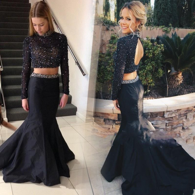 HQ Sexy Black Girl Prom Dresses with Long Sleeve Heavily Beading Sequins  Two Pieces Prom Dress Pageant Party Gowns 583a0c5dfd22