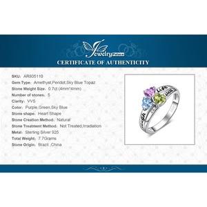 Image 5 - JewelryPalace hayat aşk gülmek kalp hakiki Peridot ametist Topaz yüzük 925 ayar gümüş yüzük kadınlar için söz yüzüğü takı