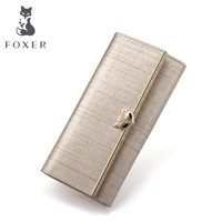 FOXER Girls Fashion Coin Holder Famous Luxury Women Purse Lady Leather Long Cover Flap Wallets Woman