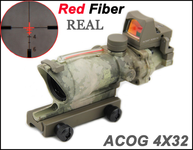 tactical trijicon acog 4x32 style fiber source red illuminated real red fiber scope w rmr. Black Bedroom Furniture Sets. Home Design Ideas