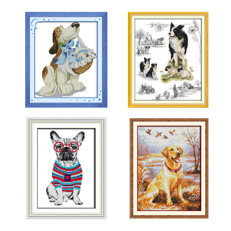 Joy Sunday Cross Stitch Kits Animals Dogs Cross Stitch Fabric 11 14ct French Bulldog Cross Stitch Kit Embroidery Needlework Sets