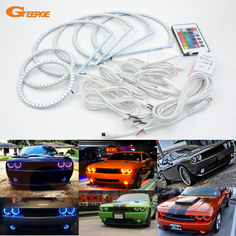 For Dodge Challenger 2008-2014 Excellent RGB Angel Eyes kit Multi-Color Ultra bright RGB LED Angel Eyes Halo Rings for mitsubishi lancer 2008 2015 non projector excellent multi color ultrabright 7 colors rgb led angel eyes halo rings led light