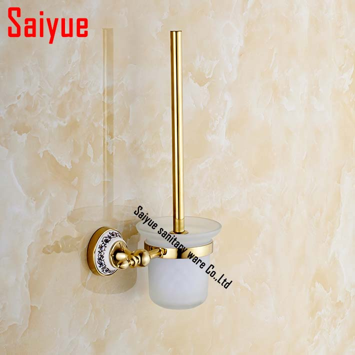 Luxury wall mounted zinc alloy ceramic toilet brush - Wall mounted ceramic bathroom accessories ...