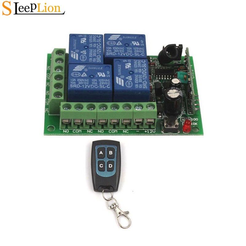 Sleeplion 12V 4 Channel Auto RF Wireless Remote Control Module Relay Switch  Circuit Board 12V 4CH Remote Control 433MHz/315MHz