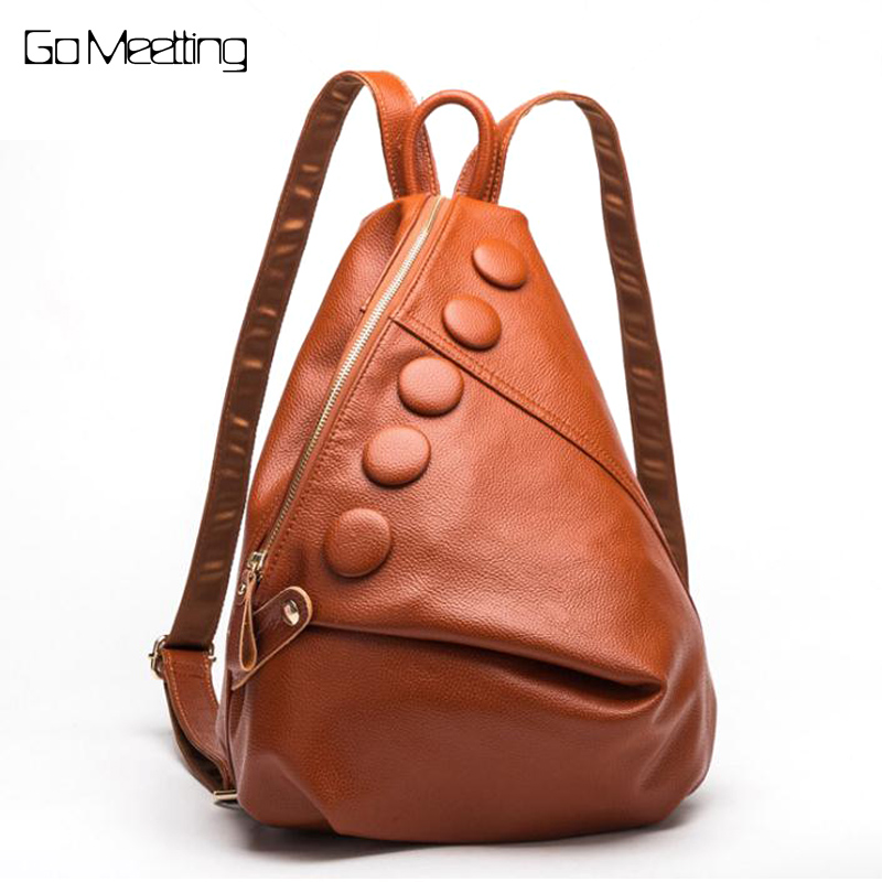 Go Meetting Genuine Leather Women Backpack Unique style Cow Leather Ladies Shoulder School Bag Fashion Travel Backpacks WB13 go meetting brand fashion women backpacks soft washed leather bag schoolbags for girls leisure bag mochilas travel backpack